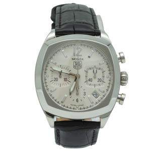 Tag Heuer Silver Monza Stainless Steel Chronograph Watch 37MM