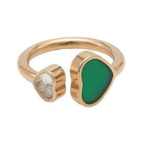Chopard Happy Heart Green Rose Gold Diamond Ring Size 54