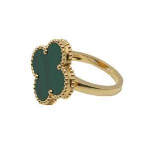 Van Cleef & Arpels Magic Alhambra Malachite Yellow Gold Ring Size 56