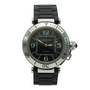 Cartier Black Pasha Stainless Steel & Rubber Automatic Men's Watch 40MM