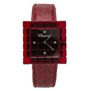 Chopard Icecube be Mad Red Diamond Dial Steel & Resin Women's Watch 31MM