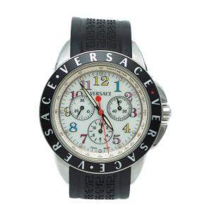 Versace White Mother Of Pearl Dial Steel 12599 Multi-Bezel Men's Watch 43MM