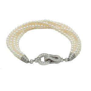 Cartier White Gold Cultured Pearls Diamond Agrafe Bracelet