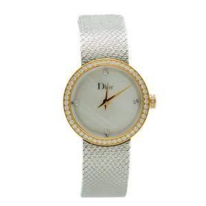 Dior La D De Dior Satine Steel & Yellow Gold Diamond Dial & Bezel MOP Watch 25MM