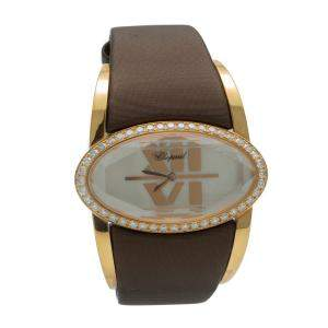 Chopard Mother Of Pearl Happy Oval Rose Gold Diamond Women's Watch 41 MM