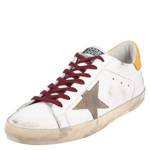 Golden Goose White/Yellow Leather Superstar Sneakers Size EU 45