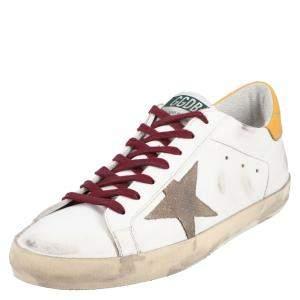Golden Goose White/Yellow Leather Superstar Sneaker Size EU 42
