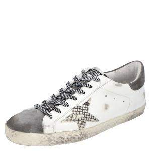 Golden Goose White/Grey Leather Superstar Sneakers Size EU 45
