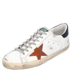 Golden Goose White/Black/Red Leather Superstar Sneaker Size EU 45