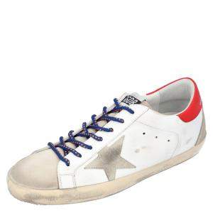 Golden Goose White/Red Leather Superstar Sneakers Size EU 43