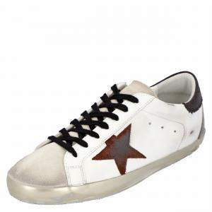 Golden Goose White/Black/Red Leather Superstar Sneakers Size EU 44