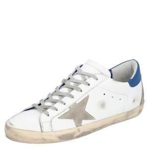 Golden Goose White/Blue Leather Superstar Sneaker Size EU 44