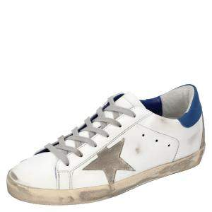 Golden Goose White/Blue Leather Superstar Sneakers Size EU 36