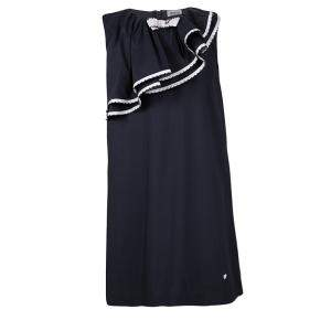 Armani Junior Navy Blue Ruffle Detail Sleeveless Dress 8Yrs
