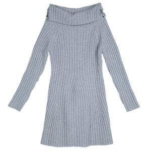 Dior Grey Ribbed Knit Turtleneck Sweater Dress 12 Yrs