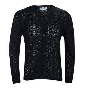 Dior Black Wool Perforated Diamond Pattern Buttondown Cardigan 10 Yrs