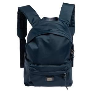 Dolce & Gabbana Blue Nylon  Logo Plaque Small Backpack