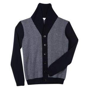 Gucci Navy Blue and Grey Wool Chevron Pattern Knit Button Front Cardigan 12 Yrs