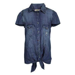 John Galliano Kids Indigo Washed Faded Effect Denim Tie Bottom Shirt 14 Yrs