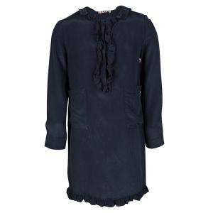 Marni Navy Blue Silk Ruffle Trim Detail Long Sleeve Dress 6 Yrs