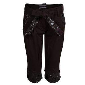Monnalisa Dark Brown Sequin Embellished Belted Cotton Pants 8 Yrs