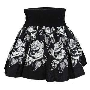 Monnalisa Monochrome Rose Emroidered Gathered Skirt 4 Yrs