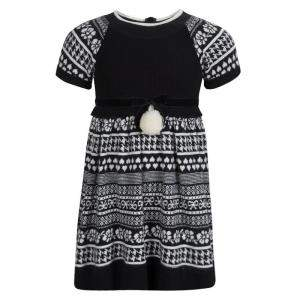 Monnalisa Monochrome Knit Pom-Pom Detail Short Sleeve Dress 4 Yrs