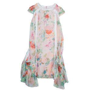 Roberto Cavalli Angels Multicolor Floral Print Silk Dress 6 Yrs