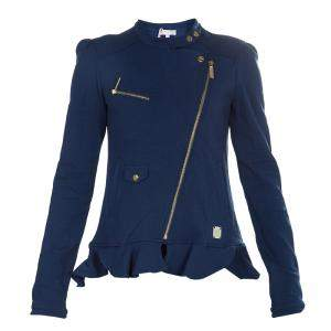 Roberto Cavalli Angels Navy Blue Frill Detail Biker Jacket 12 Yrs