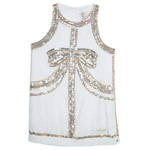 Roberto Cavalli Angels White Sequin Embellished Sleeveless Dress 13 Yrs