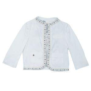 Roberto Cavalli Angels White Leather Trim Jacket 10 Yrs