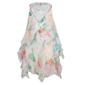 Roberto Cavalli Angels Floral Printed Chiffon Layered Sleeveless Dress 4 Yrs