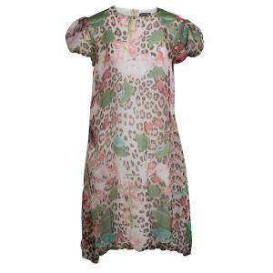 Roberto Cavalli Printed Silk Elasticated Hem Dress XS