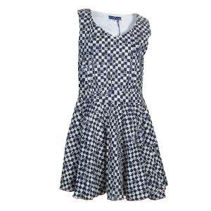 Roma e Tosca Blue & White Square Print Sleeveless Dress 10 Yrs
