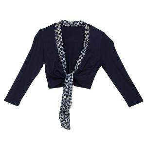 Roma e Tosca Navy Blue Printed Trim Bolero Top 12 Yrs