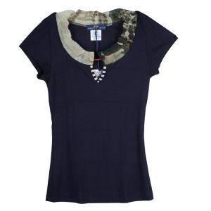 Roma e Tosca Navy Blue Contrast Neckline Tshirt 14 Yrs