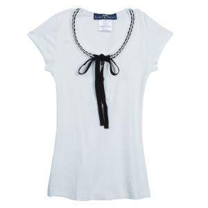 Roma e Tosca White Lace Trim Tshirt 6 Yrs