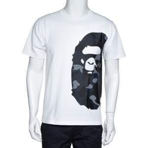 A Bathing Ape White & Navy Blue Cotton Camo Ape Print T Shirt M