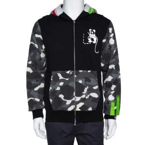 A Bathing Ape Black Knit Camo Panda Print Shark Detail Hoodie L