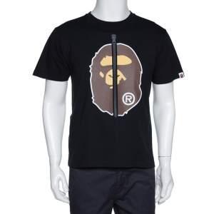 A Bathing Ape Black Cotton Zipper Ape Print T Shirt M