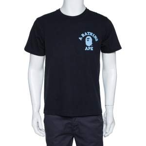 A Bathing Ape Black Logo Print Washed Cotton Crew Neck T-Shirt M