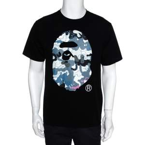 A Bathing Ape Black Graphic Print Crew Neck T Shirt L