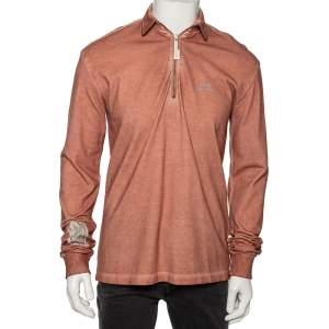 A Cold Wall Sandstone Orange Pique Knit Half Zipper Front Sweatshirt M