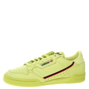 Adidas Semi Frozen Yellow Leather Continental 80 Sneaker Size 46