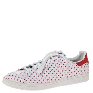 Adidas Pharrell Williams Stan Smith SPD White/Red Polka Dot Leather Sneakers Size 46.5