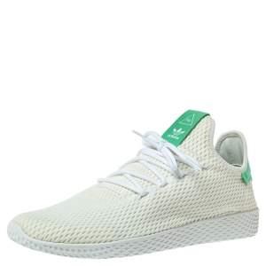 Pharrell Williams x Adidas White/Green Cotton Knit PW Tennis Hu Sneakers Size 46