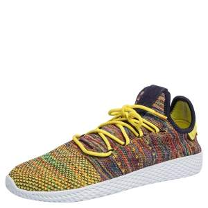 Pharrell Williams x Adidas Multicolor Knit Fabric PW Tennis Hu Sneakers Size 46