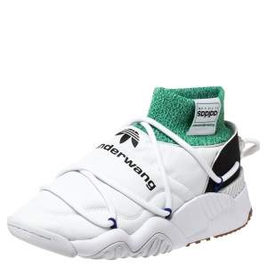 Adidas Originals by Alexander Wang White/Green Leather And Knit Fabric Puffer Trainer High-Top Sneakers Size 42