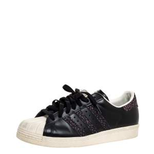 Adidas Black Leather Superstar 80s Sneakers Size 42