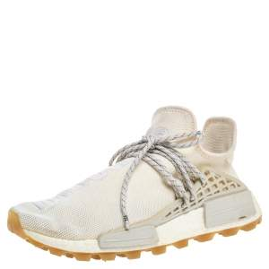 Adidas Cream White Fabric PW HU NMD PRD Pharrell Williams Sneakers Size 42 2/3